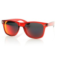 Crazy Mirrored Lens Colorized Horned Rim Sunglasses 8560