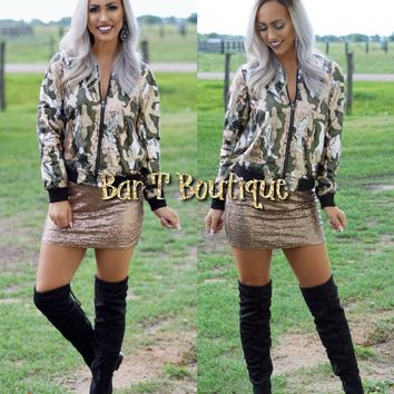 Camo Sequin Bomber Jacket