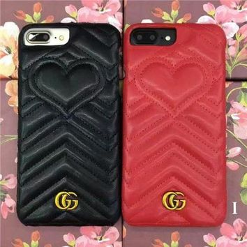 Perfect GUCCI Fashion Heart iPhone Phone Cover Case For iphone 6 6s 6plus 6s-plus 7 7plus