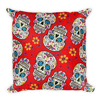 Sugar Skull Day of the Dead RED Square Pillow