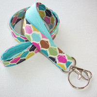 Lanyard Id Holder Key Leash badge holder - candy tiles aqua