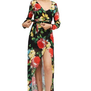 Night Blossom Floral Wrap Tie Up Asymmetric See Trough Dress