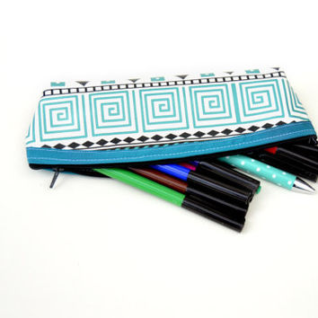 Pencil holder // Pencil case // Pen holder // Tribal pencil holder gift for him // Pencil pouch // Artist brush holder for him /Brush holder