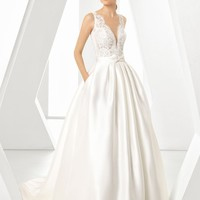 Rosa Clará Dorano V-Neck Gown with Ballgown Overskirt | Nordstrom