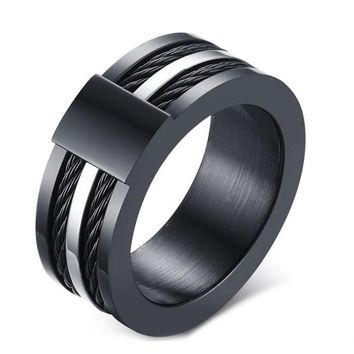 Men's Punk Rock Ring Fahsion Titanium Steel Party Jewelry Cool Black Wire Rings For Male