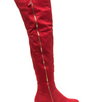 Zip It Faux Suede Thigh-High Boots