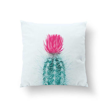 Cactus Blue Pillow, Pink Flower, Cactus Illustration, Botanical Art, Home Decor, Cushion Cover, Throw Pillow, Boho Desert, Decorative Pillow