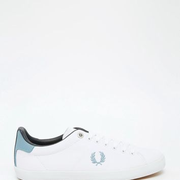 Fred Perry Howells Twill White & Sub Blue Plimsoll Trainers
