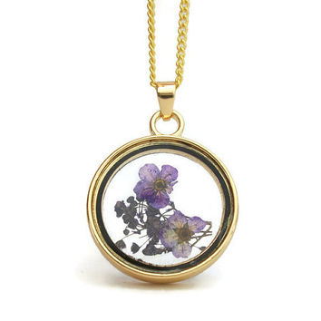 Purple Dried Flowers Floating Locket Gold Tone Pendant Necklace- 18 or 20 in Petite Curb Chain or 23 inch Ball Chain