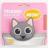 Kikkerland Talking Cat Bag Clip Grey One Size For Men 24349211501