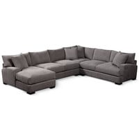 Rhyder 112 4-Pc. Fabric Sectional with Chaise, Created for Macy's - Furniture - Macy's