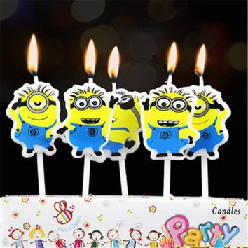 5pcs/lot Minions Party Supplies Kids Birthday Candles Evening Party Decorations Set Birthday Wedding Party Cake Candles