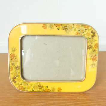 Heavy yellow enamel floral picture frame, Bucklers or Bowon