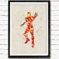 Iron Man Watercolor Art Poster Print, Marvel Superhero, Wall Art, Home Decor, Boy's Gift, Not Framed, Buy 2 Get 1 Free!