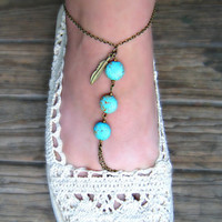 feather and turquoise  anklet by alapopjewelry