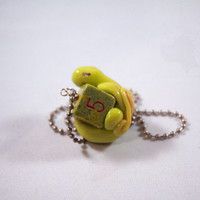 Dice Dragon Necklace - Chartreuse and Yellow Speckled D6