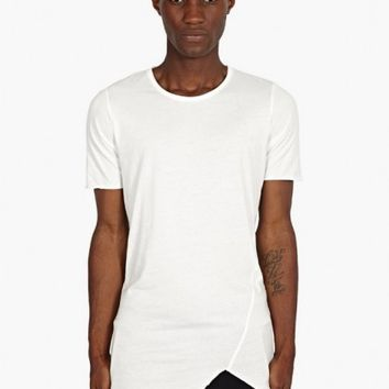 Thom Krom Men's White Raw-Edge T-Shirt