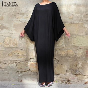 ZANZEA Women Casual Loose Long Dress 2017 Ladies Elegant 3/4 Batwing Sleeve O Neck Solid Floor-Length Dress Vestidos Plus Size