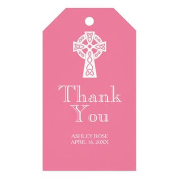 Celtic Cross Thank You Tag - PINK