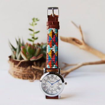 BW-37, Free US shipping ,Native American inspired hand-beaded watch.geometry,geometric,handmade,hippie,boho,hipster