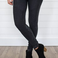 Midnight Moto Leggings - Black