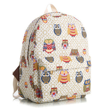 Canvas Animal Floral Striped Lovely Korean Stripes Cute Backpack = 4888027716