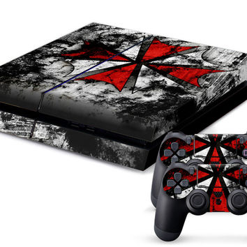 Biohazard Umbrella Sticker Cover Wrap Protector Skin For Sony PS4 Playstation 4 Console Controller Xmas Decorate