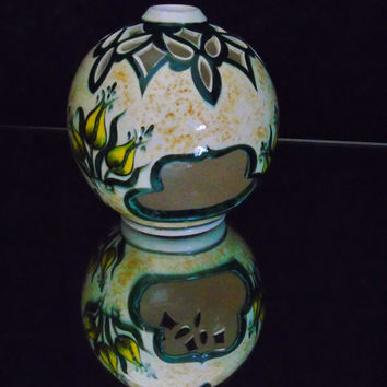 Cini Iznik Pottery Tea Light Candle Votive Holder Chini Çini Iznik Aras Hand Painted Signed Bowl