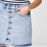 Emma Acid Wash Frayed Hem Denim Skirt