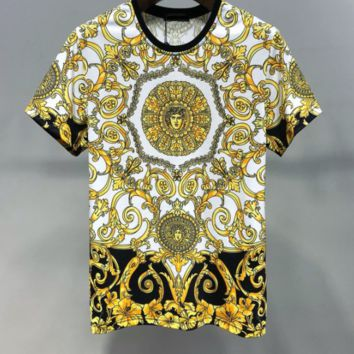 VERSACE Men Fashion Leisure Double Print Cotton Top T-Shirt
