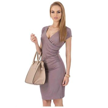 Side Ruffled Daily Sheath Deep V Neck Short Sleeves Party Pencil Bodycon Dress Women Holiday Casual Dresses
