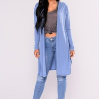 Nita Ribbed Cardigan - Denim