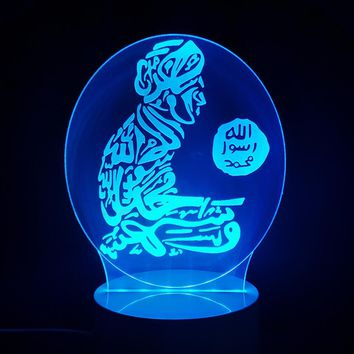 3D LED Islam Table Lamp God Allah Bless Arabic NightLight 7 Colors Changing Mood Bedroom Sleep Light Fixtures Bedside Kids Gifts