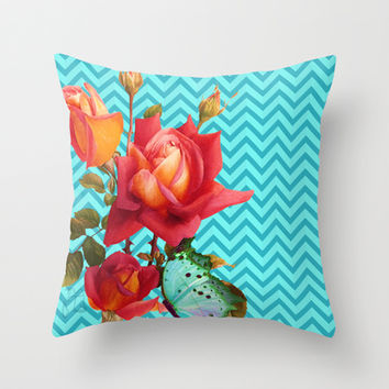 Floral Chevron, roses and butterfly aqua, turquoise Throw Pillow by Tina Lavoie's Glimmersmith