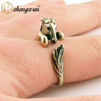 CHENGXUN Bronco Horse Animal Wrap Ring - Silver for Women Chunky Boheme Vintage Jewellery Hand Accessories for Party Wedding