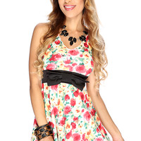 Sexy White Floral Sleeveless V Neck Causal Summer Dress