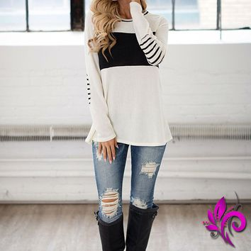 Round Neck Elbow Patched Stripe Top