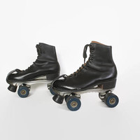 Vintage 60s Men's ROLLERSKATES  / 1960s RIEDELL Black Leather Sure Grip Skates 10