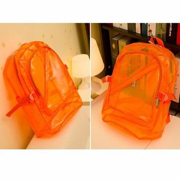 YESSTYLE: Smoothie- Fluorescent Clear Backpack (Orange - One Size) - Free International Shipping on orders over $150