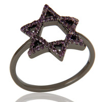 Amethyst and Oxidized Sterling Silver Star Design Ring