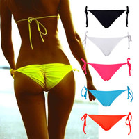 Sexy Women Tie Side Bikini Bottom Thong Bathing Beach Short Swimsuit Swimwear Solid Ruched Back Beachwear S M L XL