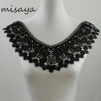 1pc Misaya White Black Embroidery Venise Spikes Flower Lace Neckline Fabric DIY Collar Lace Fabrics For Sewing Supplies Crafts