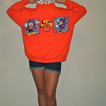 90s Halloween Disney Mickey Mouse Minnie Crewneck Turtleneck Sweatshirt Pullover Sweater