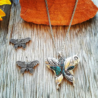 Silver & Patina Butterfly Necklace