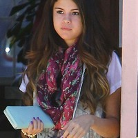 Tolani Floral Infinity Scarf in Wine as seen on Selena Gomez