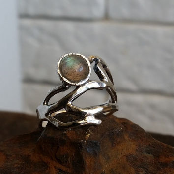 HOLIDAY SALE - Silver twig ring , stacking ring , nature ring , labradorite ring , branch ring , Botanical Jewelry  , israeli design