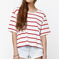 LA Hearts Stripe Crew Oversized T-Shirt - Womens Tee - Red
