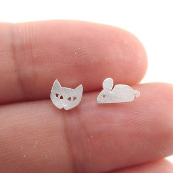 Kitty Cat and Mouse Shaped Allergy Free Stud Earrings in Silver | DOTOLY