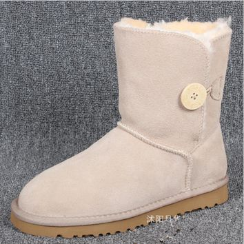 """UGG"" Women Fashion Wool Snow Boots Calfskin Shoes A Button shoes Sand white"