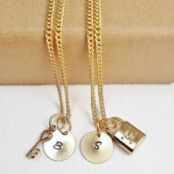 Gold Couple Lock and Key Necklaces - Personalised Jewelry - Gold Plated Necklace - Great Valentine Gift idea - Best Friend Necklace